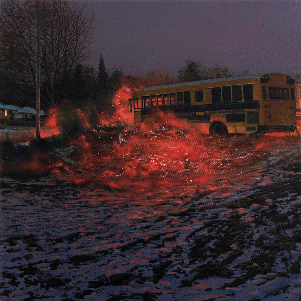 "Nate Burbeck ""Apparition (School Bus)"", Oil on Canvas, 12 x 12 inches, 2019"
