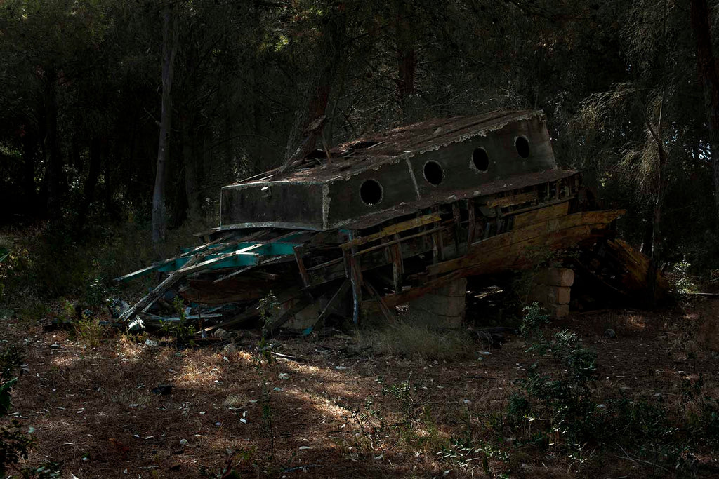 ALESSIA ROLLO Fata Morgana project, shoot in Salento (Apulia Italy) in 2017 Old boat abandoned in a pine forest