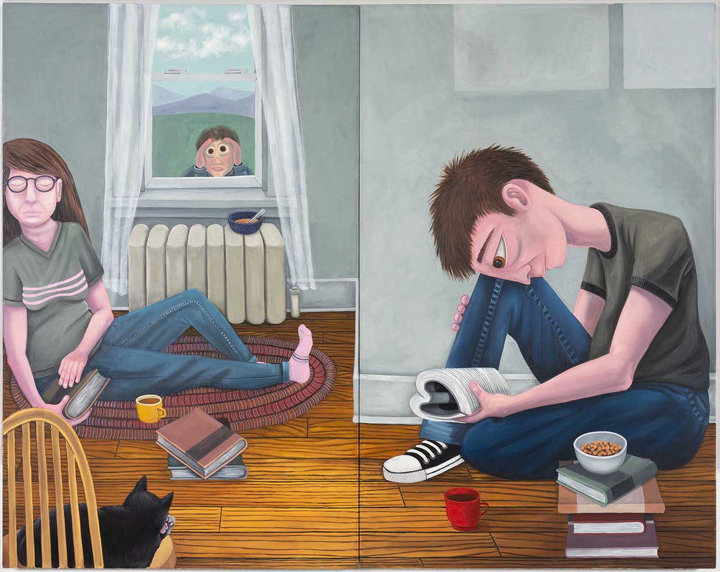 Brian Cirmo A Squatter, A Dreamer, A Reader, A Peeker, and A Cat, 2019, Oil on canvas, 54'' x  68''