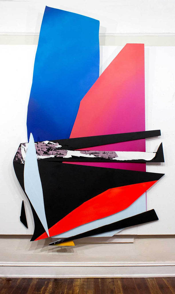 "Kristy Hughes A is for Autonomy, 113""x 74"", Acrylic, Spray Paint, Collage on Insulation Board, 2019"