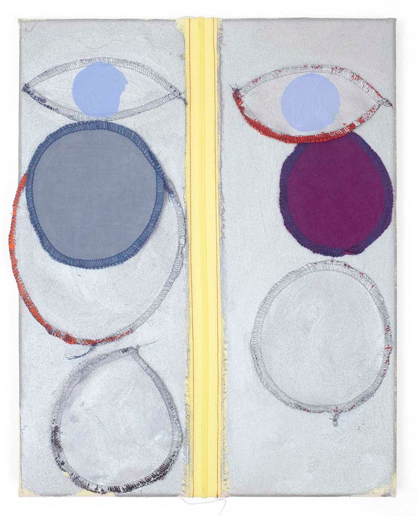Cody Tumblin Blue Eyed Stranger, 2019, zipper, dyed cotton, acrylic and oil on muslin, thread, 11x14""