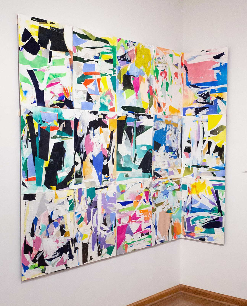 "Kristy Hughes History Project, 75""x105"", 15 Collages on Paper, mounted to Panel, 2019"