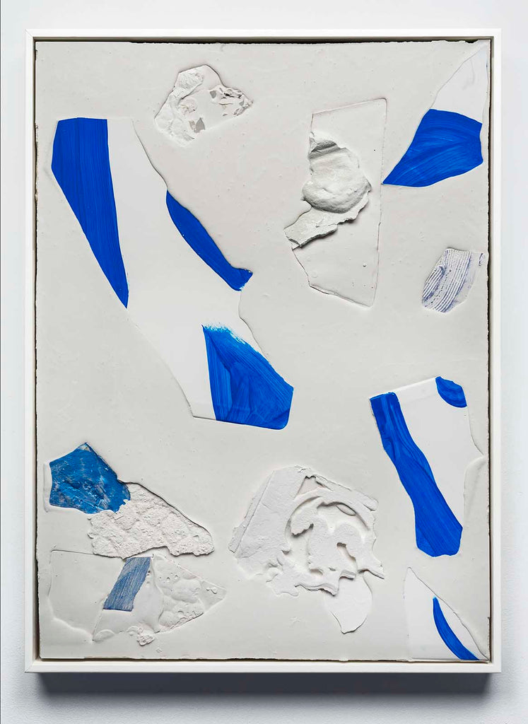 Mason Kimber Cornice/Contour (Sapphire), acrylic, resin, synthetic polymer, gypsum and glass fibre on plywood, 65 x 44.7 cm, 2018