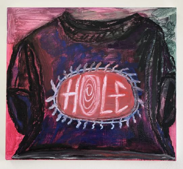 Jennifer Sullivan Hole T-Shirt (Pink/Green), 2019 Oil and oil stick on canvas, 18 x 20 inches