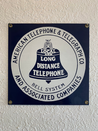 Antique Porcelain Bell Telephone Sign