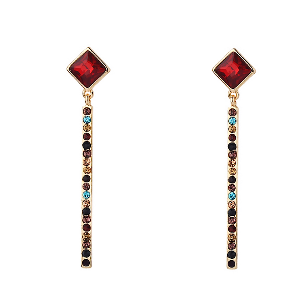 Colorful Crystal Drop Geometric Earring