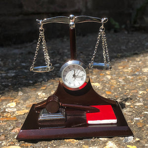 Miniature Clock - Scales of Justice