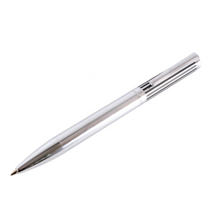 Engravable Chrome Ballpoint Pen with Black Lined Lid