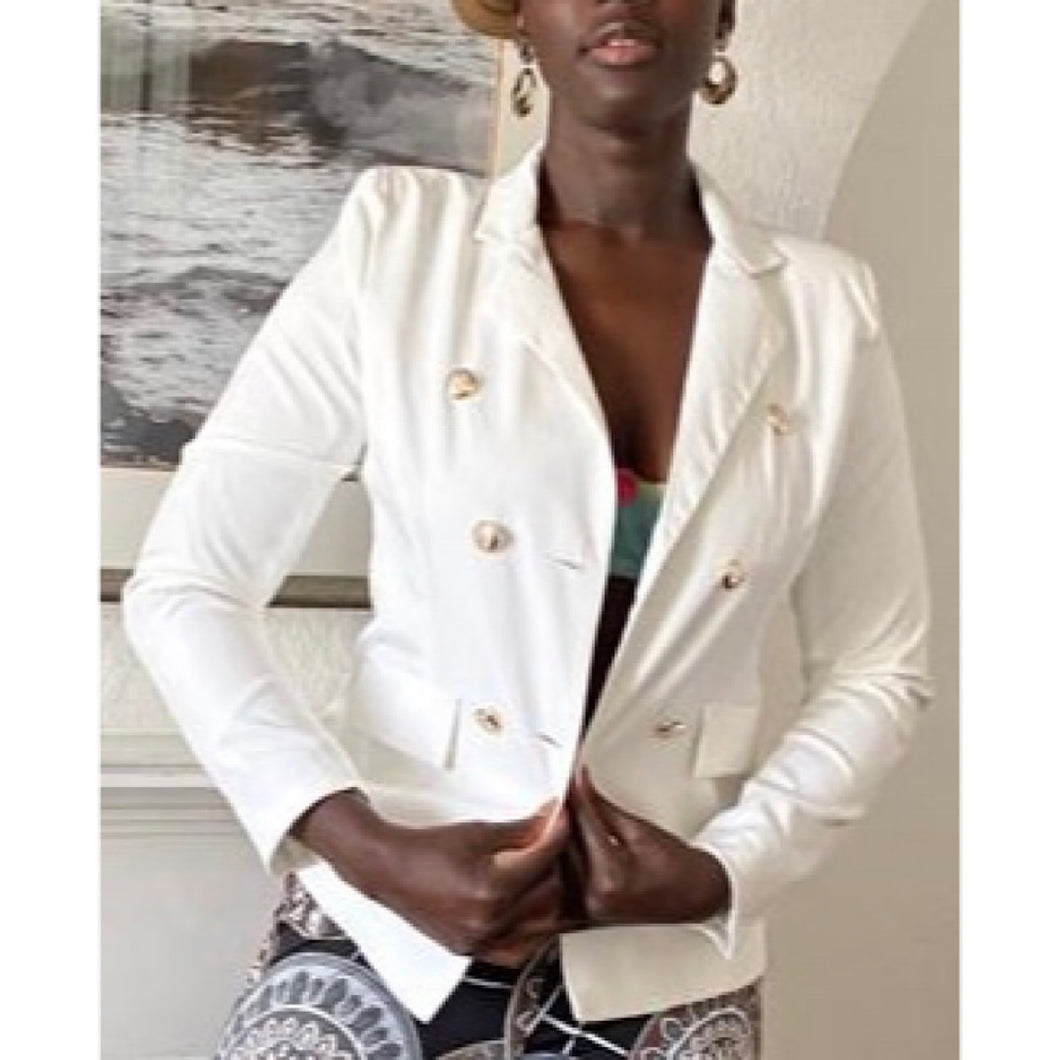 Sophisticated White Buttoned Blazer