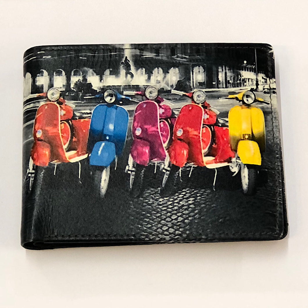Leather Vespa Printed Wallet