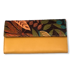 Ladies Mustard Tropical Leaf Leather Purse