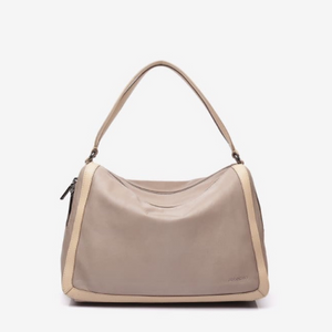 Taupe Leather Shoulder Hobo Bag