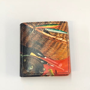 Small Leather Printed Fishing Basket Wallet