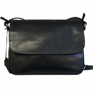 Black Leather Katana Flap Over Shoulder Bag