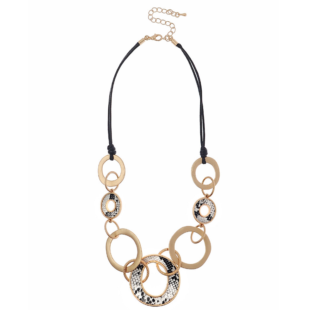 Entwine Loop & Chunky Chain Collar Necklace With Snake Print
