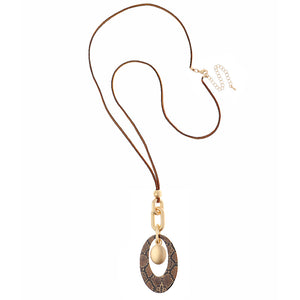 Long Brown Suede Necklace With Oval Snake Print Pendant