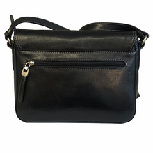 Load image into Gallery viewer, Black Leather Katana Flap Over Shoulder Bag