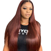 Aladye 99J Straight Peruvian Human Hair Pre Plucked Lace Front Wig