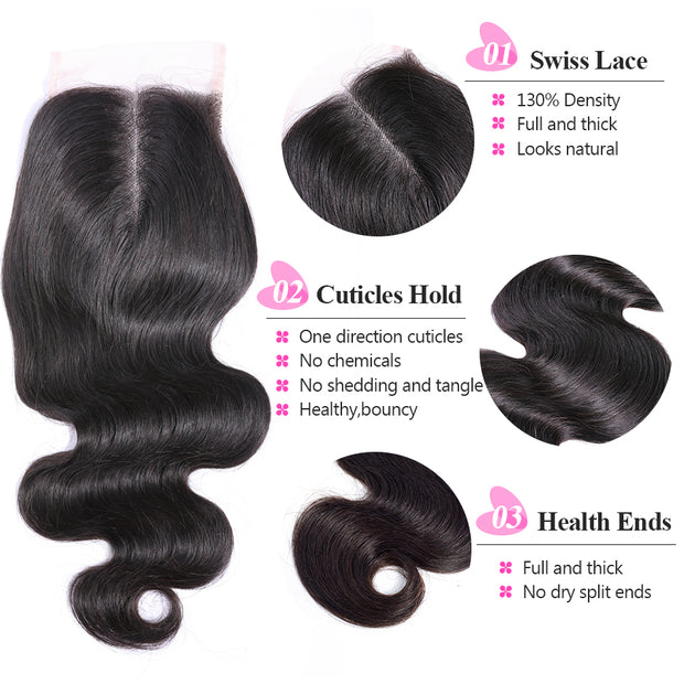 body wave middle part closure