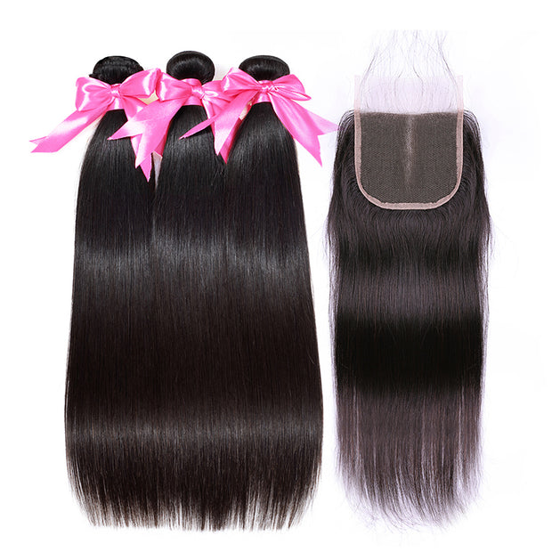 straight hair bundles with closure