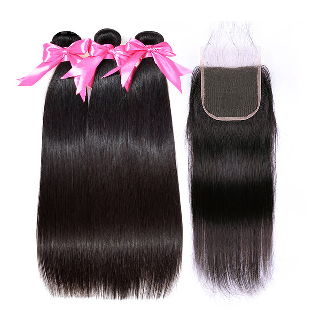 human hair extensions with closure