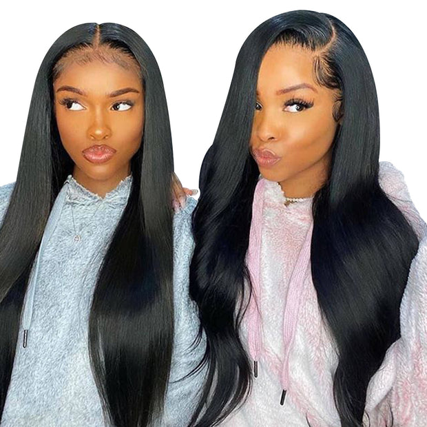 Aladye 250% Density Brazilian Remy Human Hair Straight 13X4 Lace Front Wig