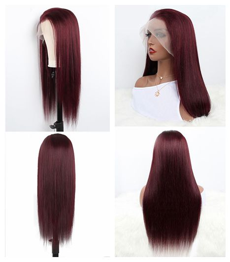 Aladye 99J Indian Human Hair Straight Pre Plucked Hairline Lace Wig