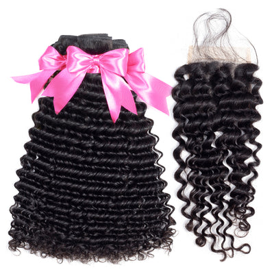 brazilian deep wave bundle deals with closure