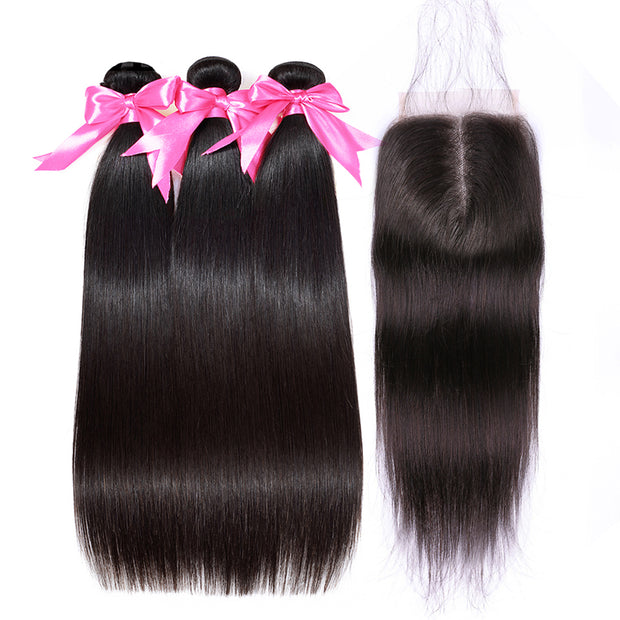 Aladye Brazilian Straight Remy Human Hair 3 / 4 Bundles With 4*4 Lace Closure