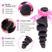 Aladye Brazilian Loose Wave Virgin Human Hair 1/3/4 Bundles