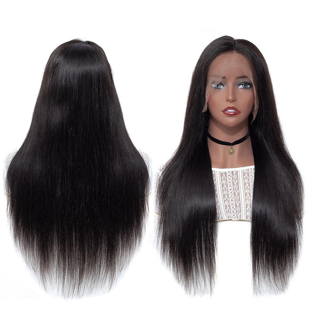 Straight virgin human hair wig