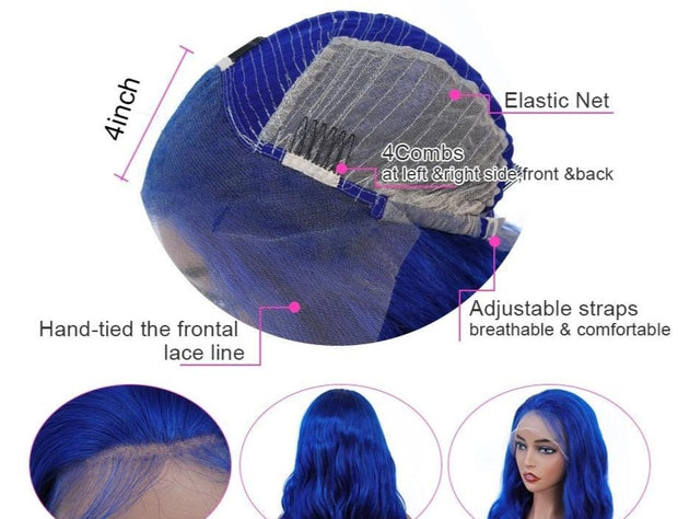 blue lace front wig