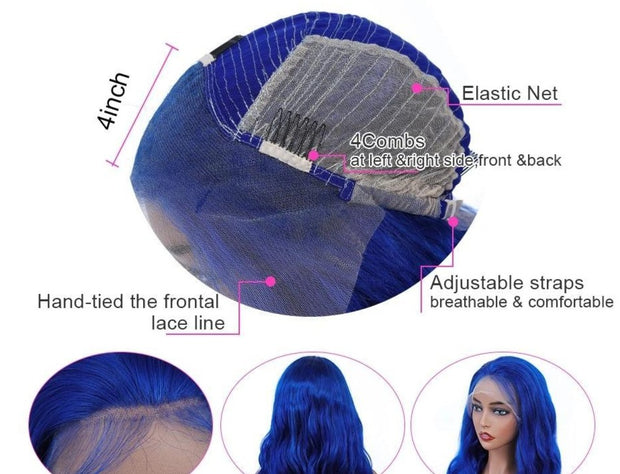 blue lace front wigs human hair