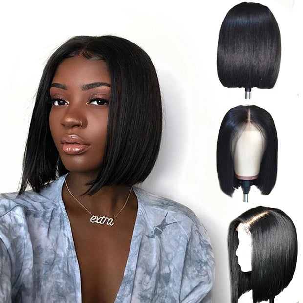 straight bob wig black girl