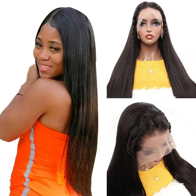 straight middle part human hair wig