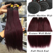 red straight hair weave