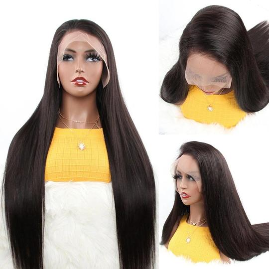 Aladye Malaysian Straight Human Hair 13X4 / 13X6 Lace Front Wig