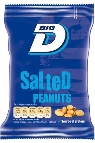 Big D Salted Peanuts 24x50g Packs on a Pub Card