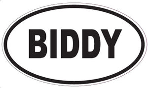 Biddy Oval Magnet Standard Decal