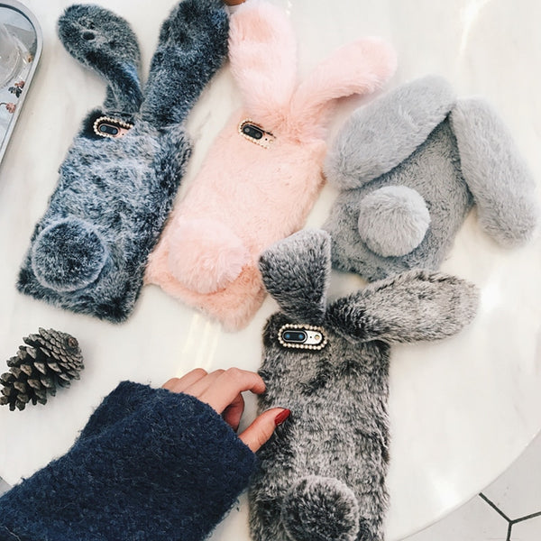 Samsung Rabbit Ears Fur Plush Phone Case