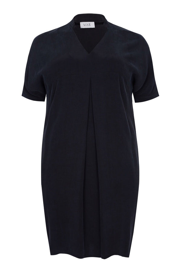 Black Cupro Mandarin Collar Dress - Live Unlimited London