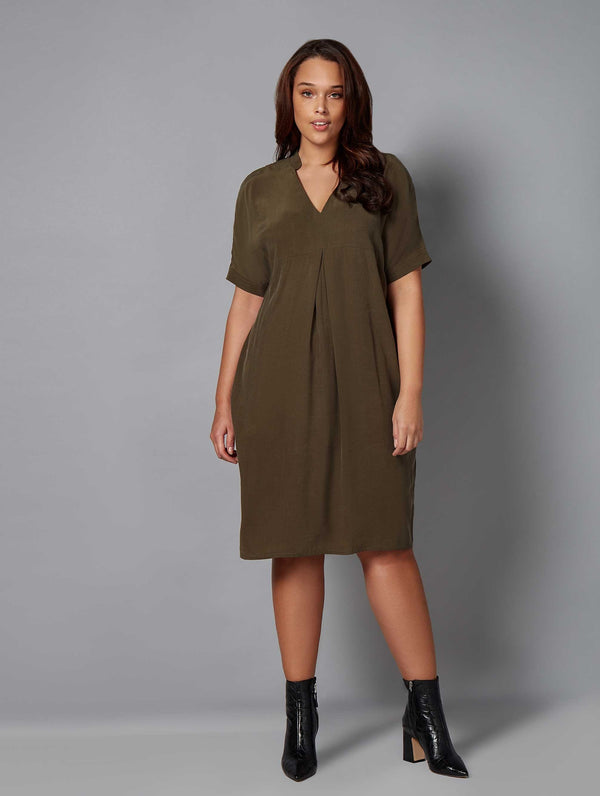 Cupro Mandarin Collar Dress - Live Unlimited London