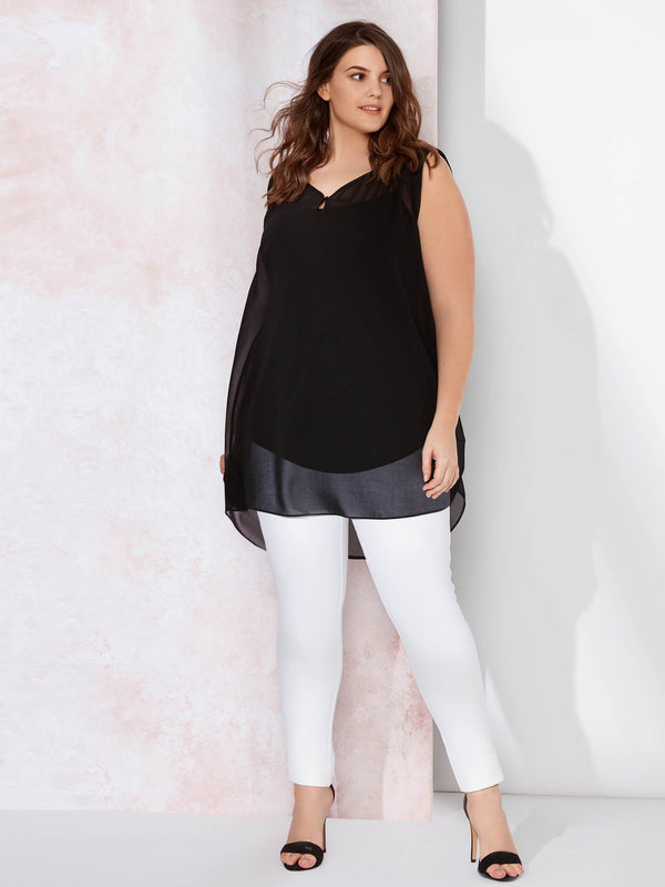 Chiffon Top with Satin Detail