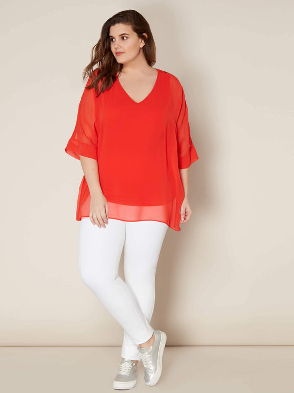 Chiffon Overlay Top with Crochet Trim