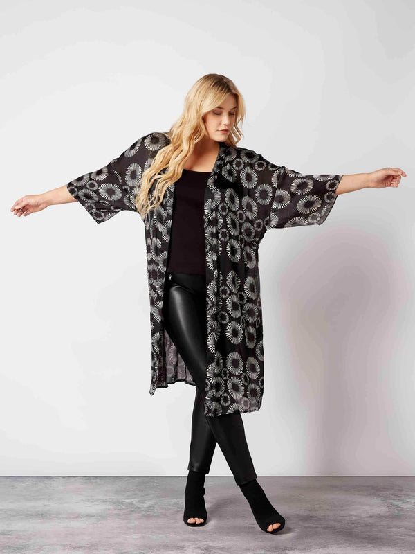 Mono Abstract Floral Kimono Jacket - Live Unlimited London