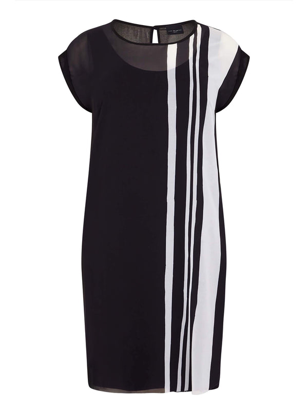 Mono Chiffon Stripe Dress - Live Unlimited London
