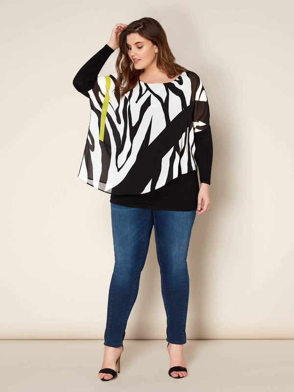 Zebra and Lime Print Top