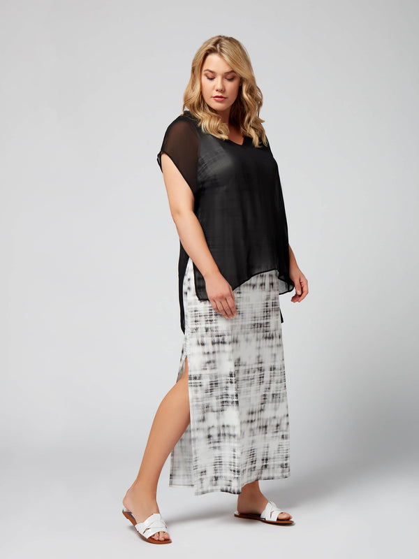 Smudge Check Maxi with Chiffon Overlayer - Live Unlimited London