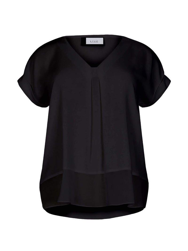 Morocain Blouse with Chiffon Hem