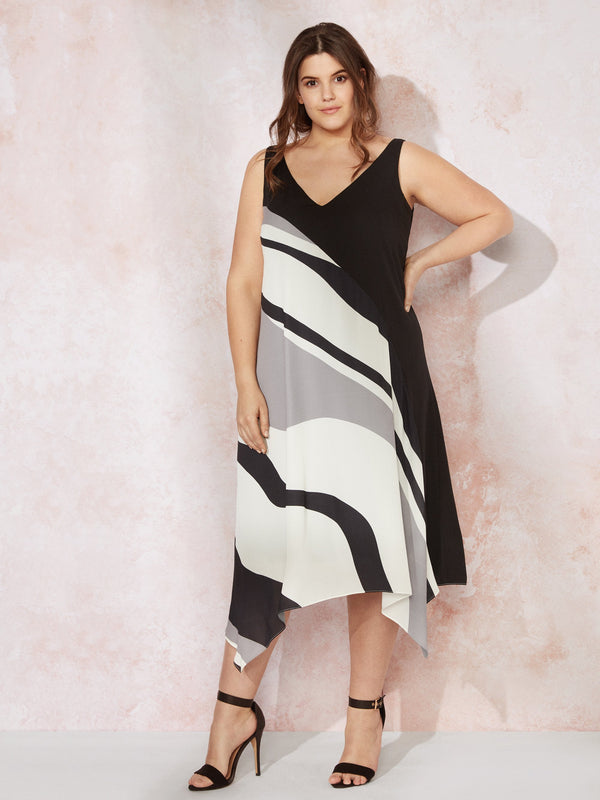 Black Wavy Print Hanky Hem Dress - Live Unlimited London